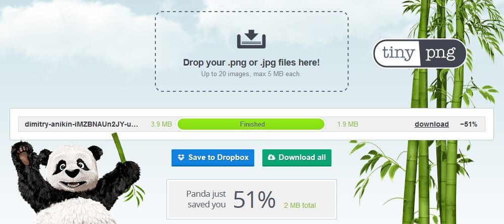 képtömörítés TinyPNG-vel