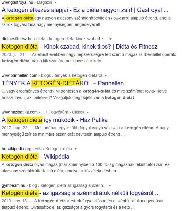 """long tail seo: találati lista a """"ketogén diéta"""" kifejezésre keresve"""