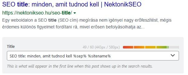 SEO title szerkesztése Rank Math plugin segítségével