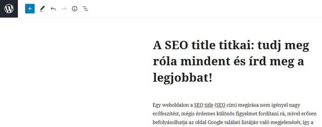 WordPress admin felületén szerkesztés alatt álló tartalmi cím, h1 elem